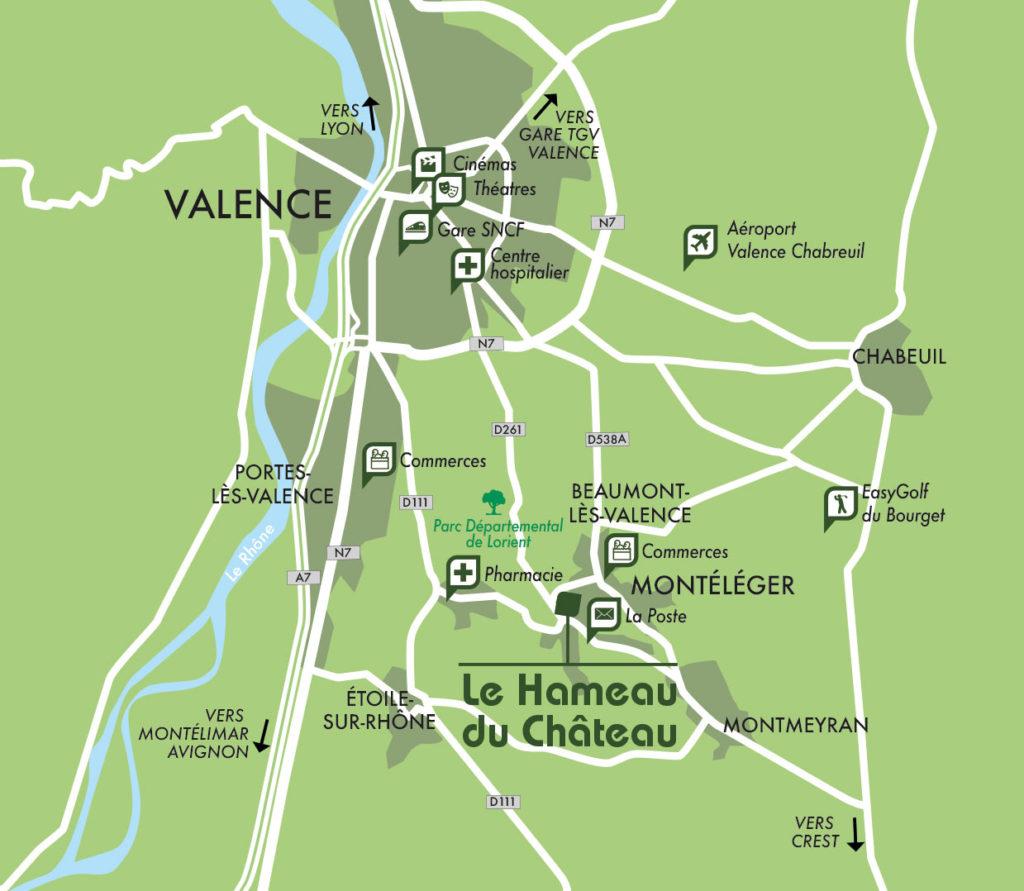 Plan accès village Monteleger près de Valence